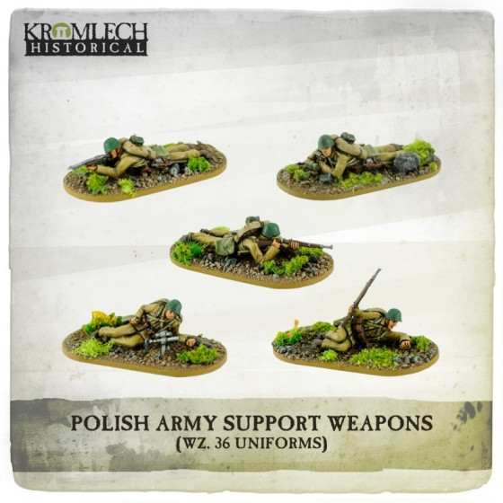POLISH ARMY INFANTRY SUPPORT WEAPONS (5 MINIATURES)